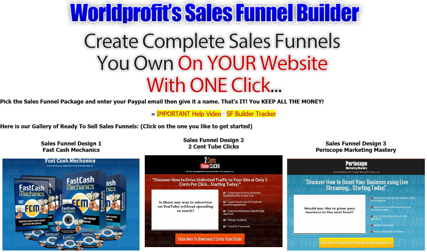 Worldprofit s sales funnel builder create complete sales for Website to build your own house
